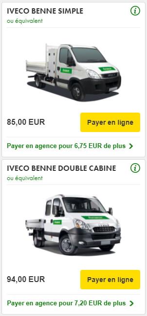 location camion benne europcar