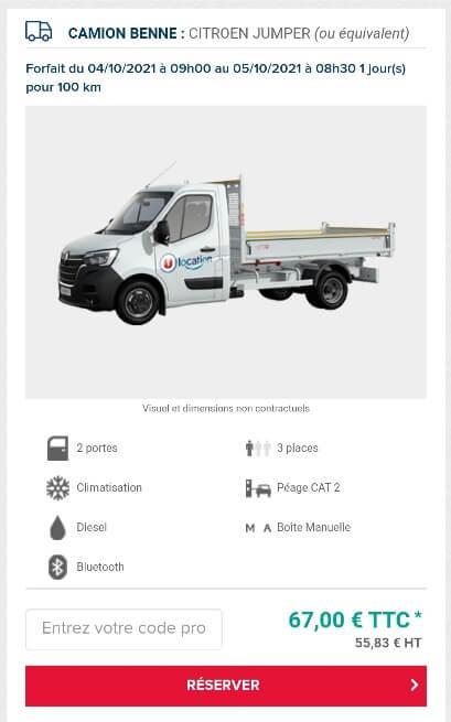 location camion benne super u